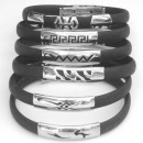 Stainless steel  and half rubber cane bracelets