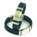 Acier et bracelet en cuir 14x3 mm. Lot BLEU