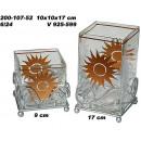 Windlicht, Glas, eckig,Sonnenmotiv gold Deko