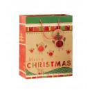 Bolsa de regalo de Navidad renos L 26 x 32 cm