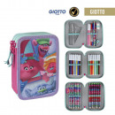wholesale Gifts & Stationery: Triple pencil case with pins 42 pieces troll