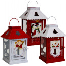 wholesale Haberdashery & Sewing: Christmas lantern  20cm white and red metal