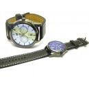 Leather steel bracelet watch