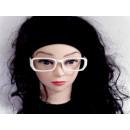 Sekräterinbrille ohne Glas weiß