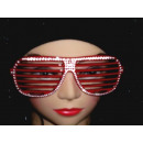 Atzenbrille Strass-Look Red