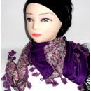 bufanda triángulo con flores 1/2 púrpura