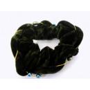 Haarzopfband terciopelo de color verde oscuro