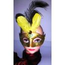 Máscara con plumas de pavo real
