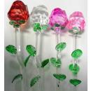 flores de cristal de vidrio aumentaron pequeña