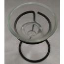 Teelichthalter aus Glas mit Metallgestell