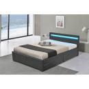 LED Bett LYON Doppelbett Polsterbett Grau 140x200