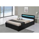 LED Bett LYON Doppelbett Polsterbett Schwa 160x200