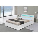 LED Bett LYON Doppelbett Polsterbett Weiß 140x200
