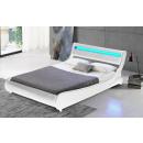 LED Bett TOKYO Doppelbett Polsterbett Weiß 140x200