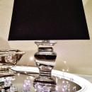 Großhandel Möbel: 35 cm PAULA  Tischlampe Schwarz Silber Shabby Chic