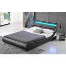 LED Bett TOKYO Doppelbett Polsterbett Grau 160x200