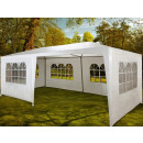 Large party tent with sidewalls.