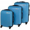 groothandel Koffers & trolleys: Trolleyset ABS lichtblauw (3 dlg)