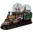 grossiste Boules de neige: Train de Noël avec deux globes de neige