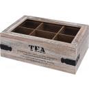 grossiste Aliments et boissons: Boîte à thé - 6 compartiments - bois