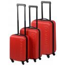 Großhandel Koffer & Trolleys: Trolley-Set ABS rot (3-tlg)