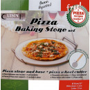 Pizza brick with container and pizza cutter.