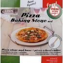 Pizza briques avec récipient et couteau à pizza.