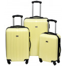 Großhandel Koffer & Trolleys: Trolleyset ABS pastellgelb (3 Stück)