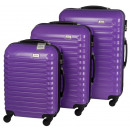 wholesale Suitcases & Trolleys: Trolleyset ABS purple (3 pcs)