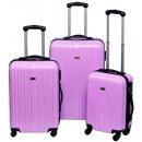 groothandel Koffers & trolleys: Trolleyset ABS pastel paars (3 dlg)