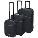 Großhandel Koffer & Trolleys: Reisekoffer mit Schloss 3-teilig grau