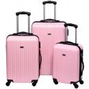 groothandel Koffers & trolleys: Trolleyset ABS pastel pink (3 dlg