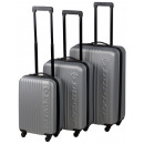 Großhandel Koffer & Trolleys: Trolley-Set ABS silber (3-tlg)