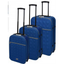wholesale Suitcases & Trolleys: Travel suitcases with lock 3-piece blue