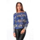 wholesale Pullover & Sweatshirts: PULL CROC PRINT SIZE BLUE 5151NO