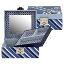 Großhandel Schmuck-Aufbewahrung: Schmuckkasten,  Diagona, Feinsynthetik, blau