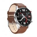Men's smartwatch, silver case, brown strap