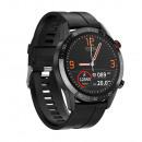 Men's smartwatch, black case, silicone strap