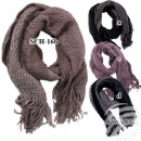 SCH-16b khaki knitted scarves knitted with fringe
