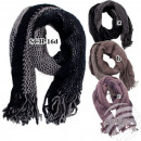 SCH-16d black knit scarves knitted with fringe at