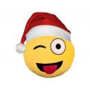 Santa Hat Emoticon Emoji Pillows wink yellow
