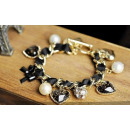 groothandel Armbanden: B023 Armband zwart lint hanger hart