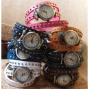 Bracelet Watch 100% Leather Studs Punk 8 Col.