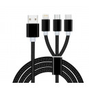 3in1 cable charger for Iphone micro usb type c