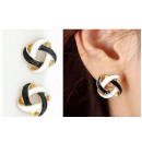 K061 earrings garland of black-and-white garland w