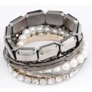 Großhandel Schmuck & Uhren: Armband B037 = 7CZ  KRISTALL Perlen Strasssteine