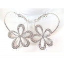 K053 wheel silver earrings FLOWER rhinestones 2in1