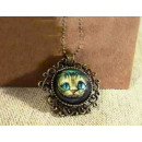 N082 Pendant Necklace with CAT Tales Vintage Retro