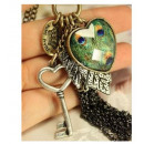 wholesale Jewelry & Watches: N033 Key Pendant  Necklace Peacock Eye Vintage