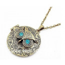 N004 Pendant  Necklace OWL MEDALLION Crystals